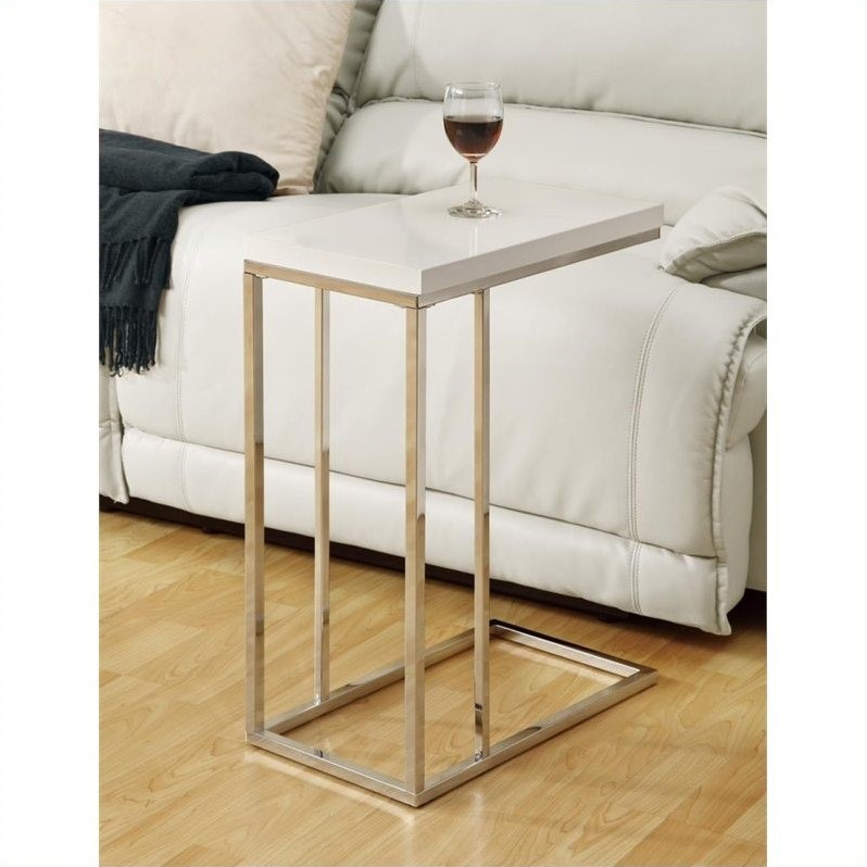 Accent Table in Glossy White and Chrome