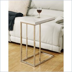 Monarch Hollow-Core Accent Table  in Glossy White and Chrome