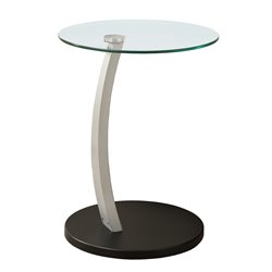 Monarch Bentwood Accent Table with Tempered Glass Top in Black and Silver