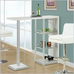 Monarch Bar Table in Glossy White and Chrome