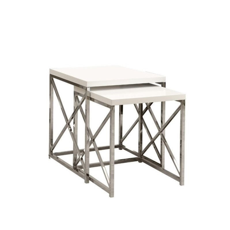 Monarch 2 Piece Metal Nesting Tables in Glossy White and Chrome