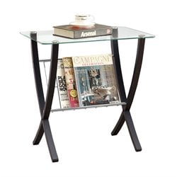 Monarch Bentwood Magazine Table with Tempered Glass Top in Cappuccino