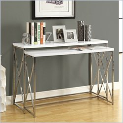 Monarch 2 Piece Metal Console Table Set in Glossy White and Chrome