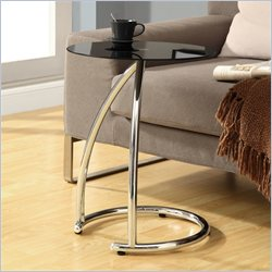 Monarch Metal Accent Table with  Frosted Tempered Glass Top in Chrome