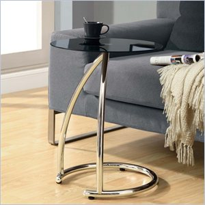 Metal Accent Table with Black Tempered Glass Top in Chrome