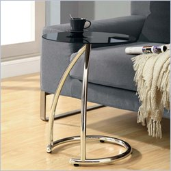 Monarch Metal Accent Table with Black Tempered Glass Top in Chrome