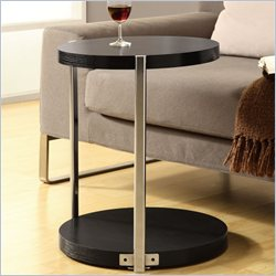 Monarch Metal Accent Table in Cappuccino and Chrome