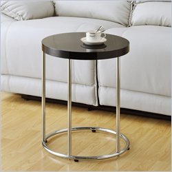 Monarch Metal Accent Table in Glossy Black and Chrome