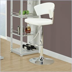 Monarch Hydraulic Lift Bar Stool in White and Chrome