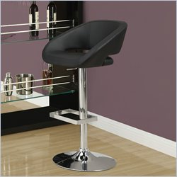Monarch Hydraulic Lift Adjustable Bar Stool in Black and Chrome