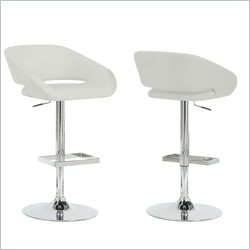 Monarch Hydraulic Lift Bar Stool in Chrome and White