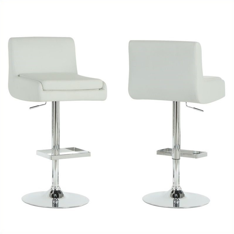 Hydraulic Lift Bar Stool in White and Chrome (Set of 2)