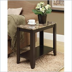 Monarch Accent End Table in Marble and Cappuccino