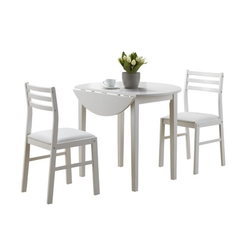 "Small White Kitchen Table Sets: 3 Piece Dining Set With 36"" Diameter Drop Leaf Table In"