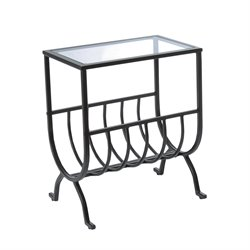 Monarch Stardust Metal Magazine Table with Glass Top in Brown