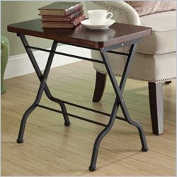 Monarch Metal Folding Accent End Table in Cherry and Charcoal Black