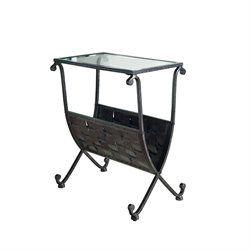 Metal Magazine Table in Black and Taupe with Tempered Glass