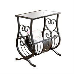 Metal Magazine Table in Satin Black with Tempered Glass