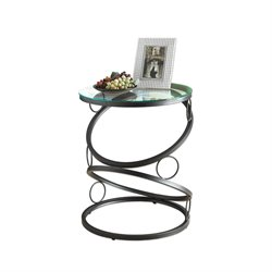 Monarch Metal Accent Table with Glass Top in Matte Black
