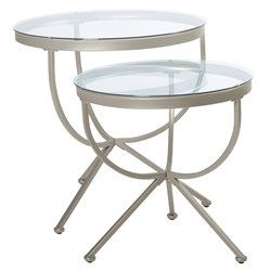 2 Piece Round Nesting Tables in Satin Silver with Glass Top