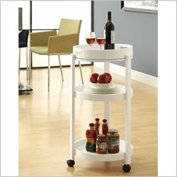 Bar Cart with Serving Tray On Castors in White