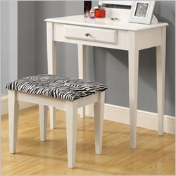 2 Piece Vanity Set with A Zebra Fabric Stool in White