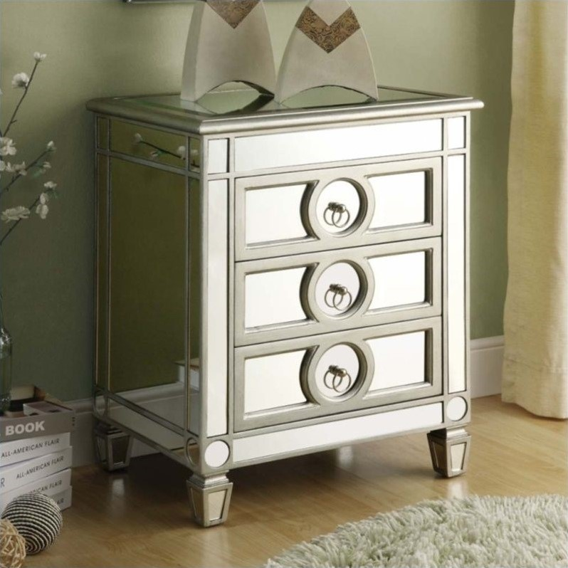 Monarch Accent Table in Mirrored finish with 3 Drawers