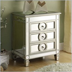 Monarch 3 Drawer Accent Table in Mirrored finish