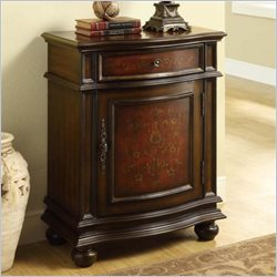 Monarch Traditional 1 Drawer Bombay Cabinet in Cherry and Red