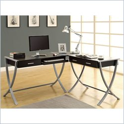 Monarch 3 Piece L Shaped Computer Desk in Cappuccino and Silver Metal