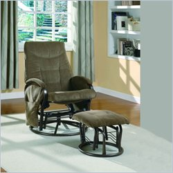 Monarch Metal Swivel Rocker Recliner with Ottoman in Brown