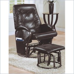 Monarch Swivel Rocker Recliner with Ottoman in Brown Faux Leather