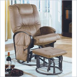 Monarch Padded Microfiber Swivel Rocker Recliner with Ottoman in Beige