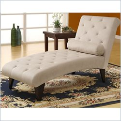 Velvet Fabric Chaise Lounger in Taupe