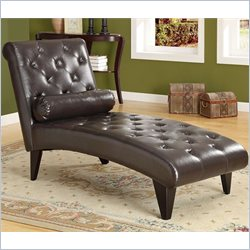 Monarch Leather-Look Chaise Lounger with Tufted Accents in Dark Brown