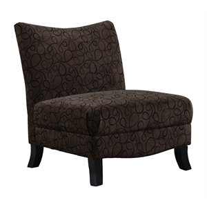 Fabric Accent Slipper Chair in Brown