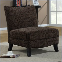 Monarch Fabric Accent Slipper Chair in Brown