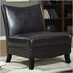 Monarch Faux Leather Accent Slipper Chair in Brown
