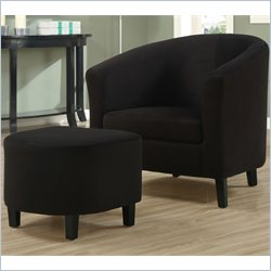 Padded Micro-Fiber Accent Barrel Chair And Ottoman in Black