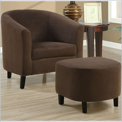Monarch Padded Micro-Fiber Barrel Chair And Ottoman in Brown