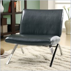 Monarch Modern Accent Chair in Black Faux Leather and Chrome Metal