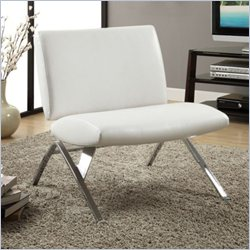 Monarch Modern Accent Chair in White Faux Leather and Chrome Metal