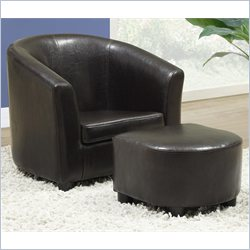 Monarch Kids Chair and Ottoman Set in Dark Brown Faux Leather