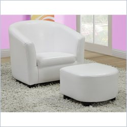 Kids Chair and Ottoman Set in White Faux Leather