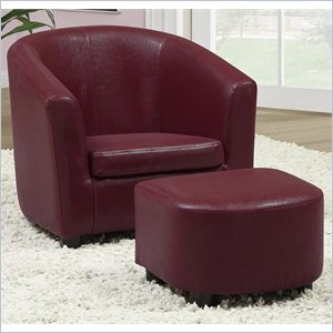 Kids Chair and Ottoman Set in Red Faux Leather