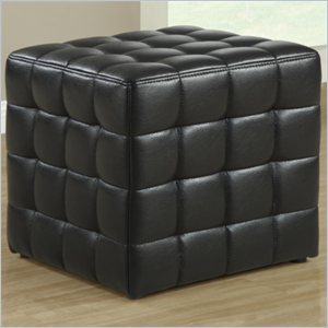 Faux Leather Ottoman in Black