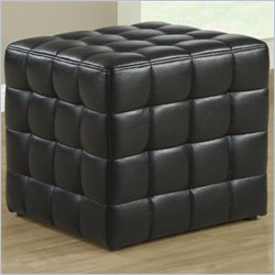 Monarch Leather-Look Ottoman in Black