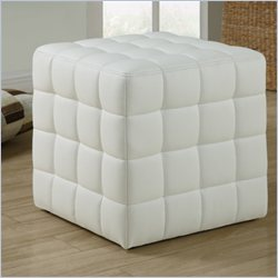 Monarch Leather-Loook Ottoman in White