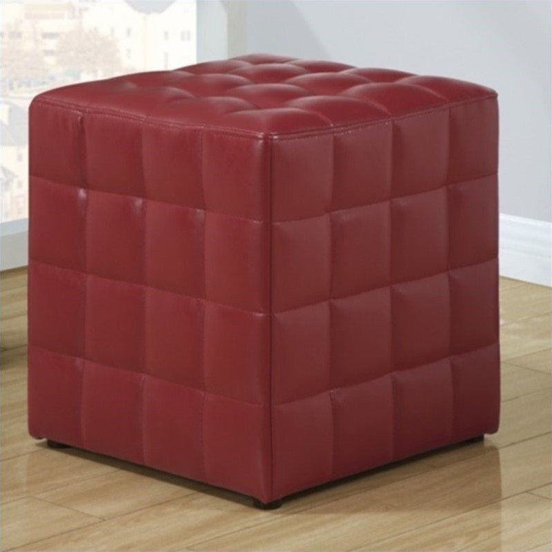 Faux Leather Ottoman in Red