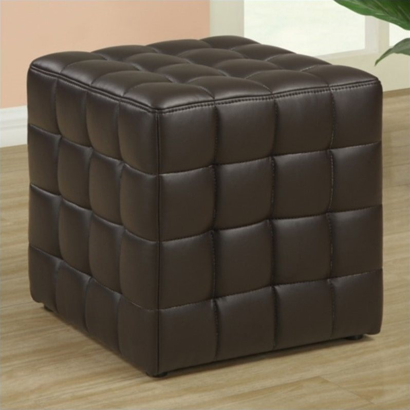 Stupendous Monarch Faux Leather Ottoman In Dark Brown Dailytribune Chair Design For Home Dailytribuneorg